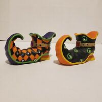 Set Of 2 Halloween Witch Shoe Tapper Candle Holder Candy Corn Heel