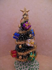 Dollhouse Miniatures Handcrafted Christmas Tree w/sparkly packages &shinny balls