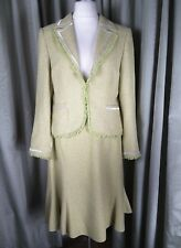 Laura Ashley 100% Silk Yellow Green Skirt Suit UK18 EU46 EXCELLENT CONDITION