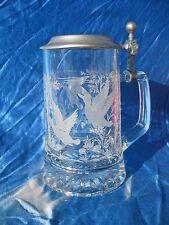 FIYE Glass Beer Stein Mallard Ducks German Solid Pewter Lid Italy Tankard Etched