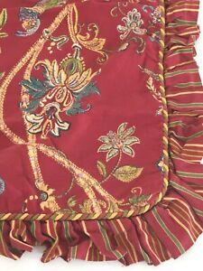 "Euro Pillow Sham Red Yellow Green Floral Stripe Bird 25"" Ruffled Cotton Pakistan"