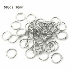 50Pcs Metal Ring Binder Staple Book Supplies Binding Office Keychain Leaf Loose