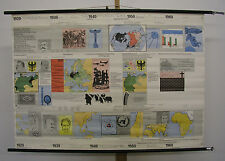 School Wall Map Mural History 1920-1970 Auto Time 117x82 ~ 1970