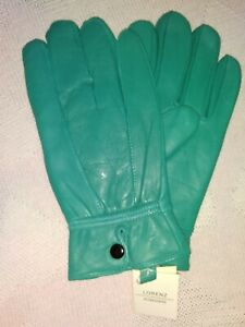 Ladies Jade Green 100% Leather Gloves. Size Large