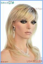 Layered Long Lightweight  Open Cap Wig  Color 102S8 Shaded Creme USA Seller B