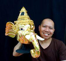 Ganesha god Mask Khon Handmade Thai traditional elephant head Art Free Shipping