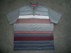 Men's NIKE GOLF Dri-Fit Golf Polo 2XL HEATHER GRAY w/Stripes w/Swoosh & SAWGRASS