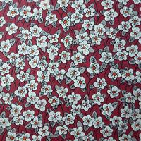 40cm x 1.37m Liberty Prints Lawn 'Ffion' Cotton Dress Crafts Fabric Red Grey
