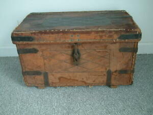 military CAPTAIN G MILNE R.A.M.C leather campaign trunk antique storage chest