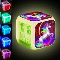 Cartoon Unicorn LED Digital Alarm Clock For Kids Student Changing Night Light