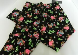 No Boundaries Women's Ankle Leggings Black with Cats Christmas Trees Size M L XL