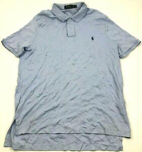 Ralph Lauren Polo Shirt Size Extra Large XL Blue Ringer Short Sleeve Blue Pony