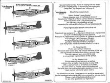 Warbird P-51C/D  Mustang, Tuskegee, Red Tail Decals III 1/48 005 By Request