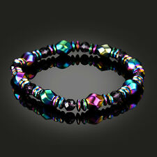 Cool Handmade Magnetic Purple Rhinestone Hematite Beads Relief Pain Bracelet