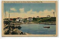 Lighthouses Life Saving Station Cape Elizabeth Portland Harbor Maine postcard