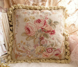 """16"""" Shabby Chic French Blooming Rose Bunch Vintage Needlepoint Pillow Cushion"""