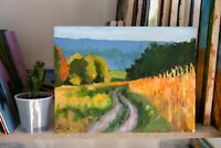 40x30 cm ORIGINAL Hand-Painted Oil on Canvas Painting Impressionism - Field Road