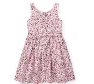 Ralph Lauren Girls Pink Floral Fit & Flare Sleeveless Dress Size 12
