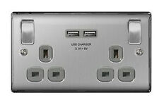 BG Nexus Double Socket With 2 X USB Charger Brushed Steel Grey Insert NBS22U3G