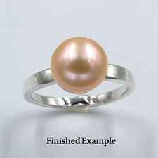 10mm ( Round or Button ) Pearl Sterling Premium Ring Mounting (Ring Size 7)