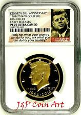 2014 W Gold 50c Kennedy 50th Anniversary High Relief Early Releases NGC PF70 UC