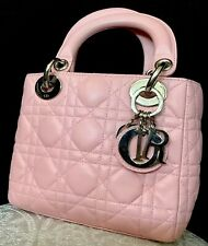 Dior Purse Baby Pink Mini Lady Dior Double Handle Silver Hardware
