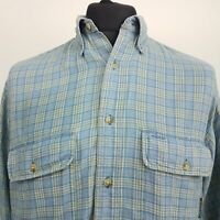 Timberland Mens Vintage Flannel Shirt SMALL Long Sleeve Blue Regular Fit Check