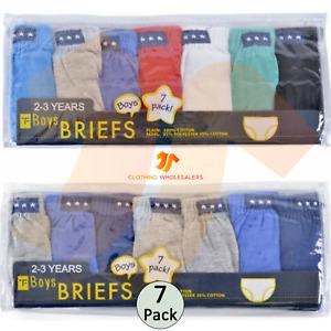 New Kids Boys Briefs Pants Underwear 7 Pack Plain 100% Cotton Underpants 2-8 Yrs