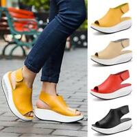 Fashion Women Thick Bottom Leather Casual Sandals Swing Peep-Toe Slingback Shoes