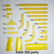 Lego Technic New Genuine Yellow Beams, Levers, Panels (252 Parts In Total)