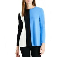 ALFANI NEW Women's Vertical Colorblock Crewneck Sweater Top TEDO