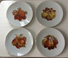 "4 - Bareuther Waldsassen Bavaria Germany Fruit Pattern 7 7/8"" Plates Gold Trim"