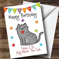 To From Pet Grey Tabby Cat Personalised Birthday Card