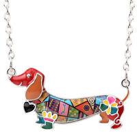 BONSNY Dachshund Necklace Sausage Dog Jewellery Animal Charm Pet women Children