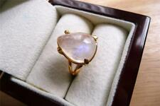 925 STERLING SILVER GOLD PLATED PEAR RAINBOW MOONSTONE SOLITAIRE RING SZ O 7.5