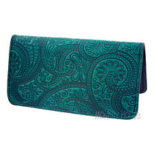 Paisley Pattern Teal Hand Crafted Leather Checkbook Cover Oberon Design