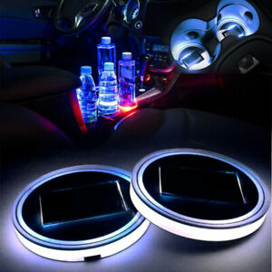 68mm Interior Water Coaster White LED Light With Solar Charger Mat TLS J2