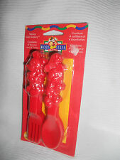 NEW Mickey Mouse Fork & Spoon 8 red plastic Set in Original Package 1997