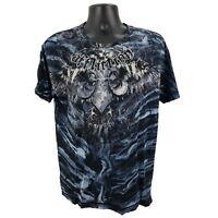 Affliction Men's L Large Blue Black Distressed Crew Neck Short Sleeve T-Shirt