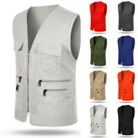 Men Multi Pocket Vest Gilet Outdoor Fishing Hunting Travel Waistcoat Size L-3XL