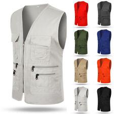 Men Multi Pocket Vest Gilet Outdoor Fishing Hunting Travel Waistcoat Size L-3XL