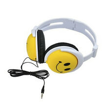 Cute Smile Face Headphone Earphones Stereo Headset High Quality Yellow Smile NT