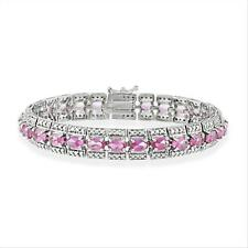 Vintage-look Pink Sapphire bracelet w/Genuine Diamonds