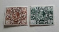 BERMUDA KGV 1921 tercentenary 2nd issue 1/4d brown 1/2d green MH with gum