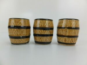 Vintage Made in Japan Small Whiskey Barrel Cups x 3