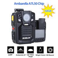 HD 1296P Ultra Infrared Night Vision IR 64GB Police Body Camera 140° Wide Angle
