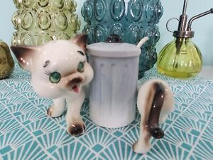 Vintage Cat Salt And Pepper Shakers Around A Trash Can - Artmark