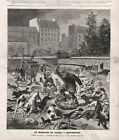 Dog Cruelty Dogs Killed By Police Paris, Rabies Scare, Large 1880s Antique Print