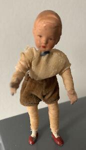 "Vintage Miniature German CACO Boy Doll CUTE 3.25""Posable Metal Feet No Res!"