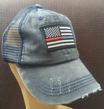 Fire Police USA Flag Distressed Baseball Cap Hat